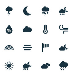 Climate icons set collection of moisture breeze vector