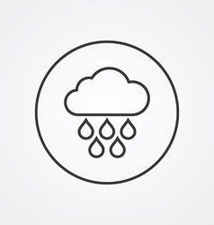 Cloud rain outline symbol dark on white background vector
