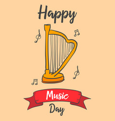 Collection music day greeting card vector