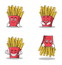 Collection set french fries cartoon character vector