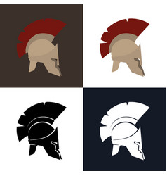 Color and silhouette greek helmet vector
