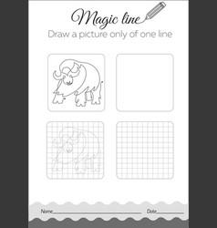 Coloring book with buffalo cartoon vector