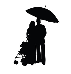 couple with baby carriage silhouette vector image vector image