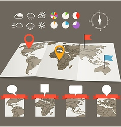 Earth maps set with and charts vector image vector image