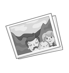Family photo portrait icon in monochrome style vector