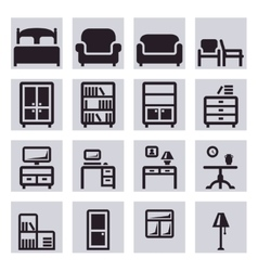 Furniture icons vector image vector image