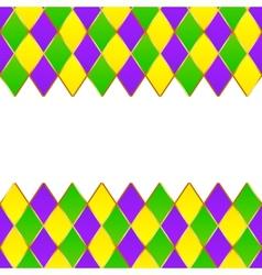Green purple yellow grid Mardi gras frame vector image vector image