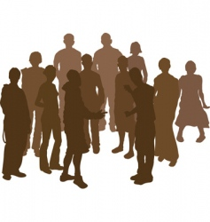group silhouette vector image vector image