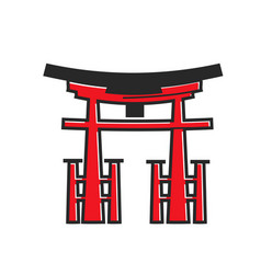 Japanese traditional red wooden arch with fence vector