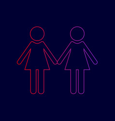 Lesbian family sign line icon with vector