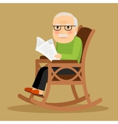 Old man sitting in rocking chair and newspaper vector image vector image