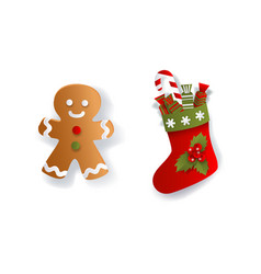 Paper flat christmas stocking and gingerman cookie vector