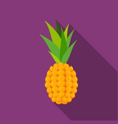 pineapple icon flat singe fruit icon vector image vector image
