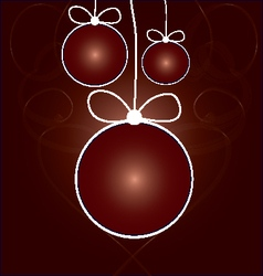 Red balls with ribbons on smokey background vector