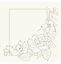 Rose and narcissus flowers frame design element vector image