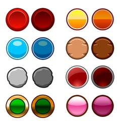 Round game buttons back and icons vector
