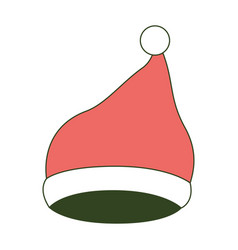 santa claus christmas cap up on color section vector image