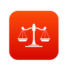 scales of justice icon digital red vector image vector image