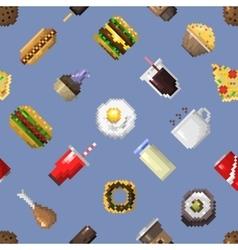 Seamless pixel breakfast pattern vector