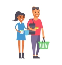 Shopping couple family vector