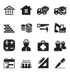 Silhouette construction icon set vector