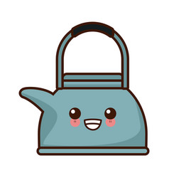 teapot kitchen utensil kawaii cute cartoon vector image