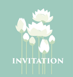 Tender elegant white water floral for invitation vector
