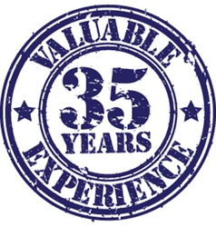 Valuable 35 years of experience rubber stamp vect vector
