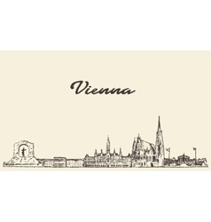 Vienna skyline austria drawn sketch vector
