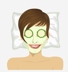woman having revitalising facial treatment vector image