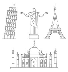 world landmarks eiffel tower leaning tower of vector image vector image