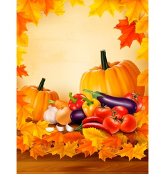 Autumn vegetable on wooden background with leaves vector image