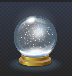 Realistic christmas snow globe isolated vector