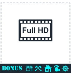 Full hd icon flat vector
