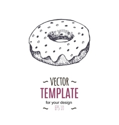 Vintage donut drawing hand drawn vector