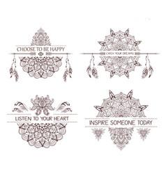 set of hand drawn boho style design with mandala vector image