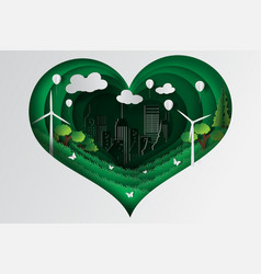 Paper art style of heart green town with ecology vector