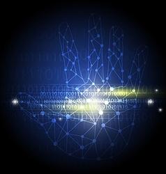 digital network on hand vector image