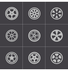 Black wheel disks icons set vector