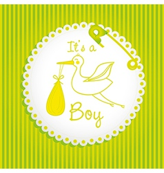 Label baby shower background of green lines is a b vector