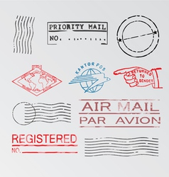 Mail postage stamps marking cancellation element vector