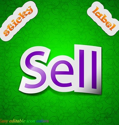 Sell icon sign symbol chic colored sticky label on vector