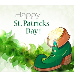 Leprechaun shoe gold coins and clover vector