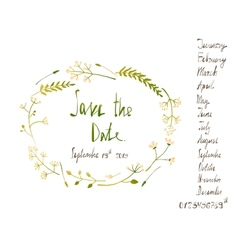 Rustic wreath save the date invitation card with vector