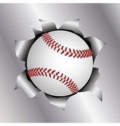 Baseball thru metal sheet vector