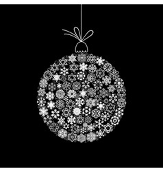 white new year sphere on a black background a vect vector image
