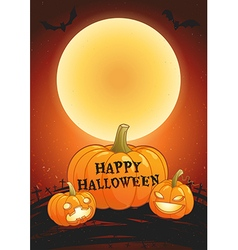 Happy halloween full moon poster vector