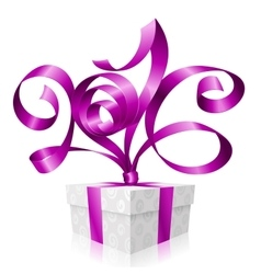 Purple ribbon and gift box 2016 vector