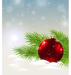 Shining red decoration in snow vector
