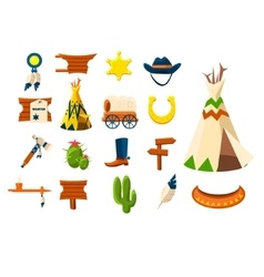 Wild west icons of cowboy vector